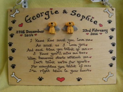 Two character 3d Pet Angel Personalised Memorial Poem Plaque A4 sized Sign Handmade Cat Dog Rabbit Guine Pig Any animal (1)